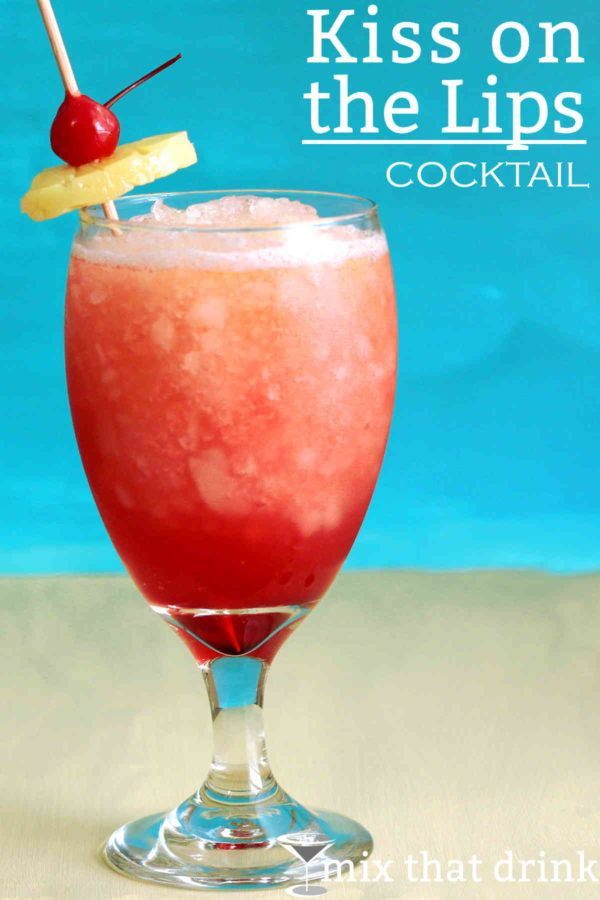 TheKiss on the Lips drink recipe is based on a drink served on Carnival Cruise Lines. It's pure, simple deliciousness, mixing the fruity flavors of peach, mango and berry. Great to serve at parties.
