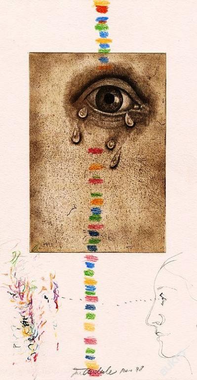 http://img05.allegroimg.pl/photos/oryginal/48/33/93/72/4833937272 Kouzelná flétna V. suchá jehla, lept a kresba tužkou a pastely; grafika s opusovým číslem 399 E; volný grafický list; rozměry: grafický list - 29,2 x 18 cm