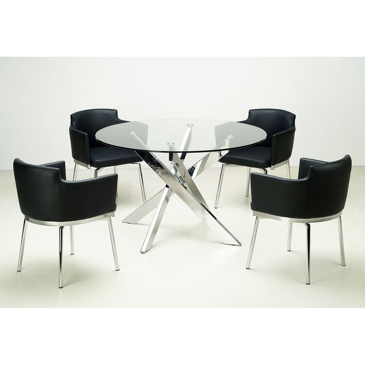 Chintaly Dusty 5 piece Round Glass Dining Table Set | from hayneedle.com