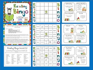 Enter to win this reading bingo game ($) FOR FREE (along with four other items from my TpT shop)! Last day to enter is September 16. Good luck!: Language Arts