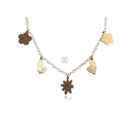 Κολιέ χρυσό με καρδιές #necklace #gold #heart #woman