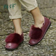 Удобные зимние ботинки женщин 2017 мягкие кожаные плоские каблуки женские туфли отдыха кролика плюшевые люксовый бренд женской обуви(China (Mainland))