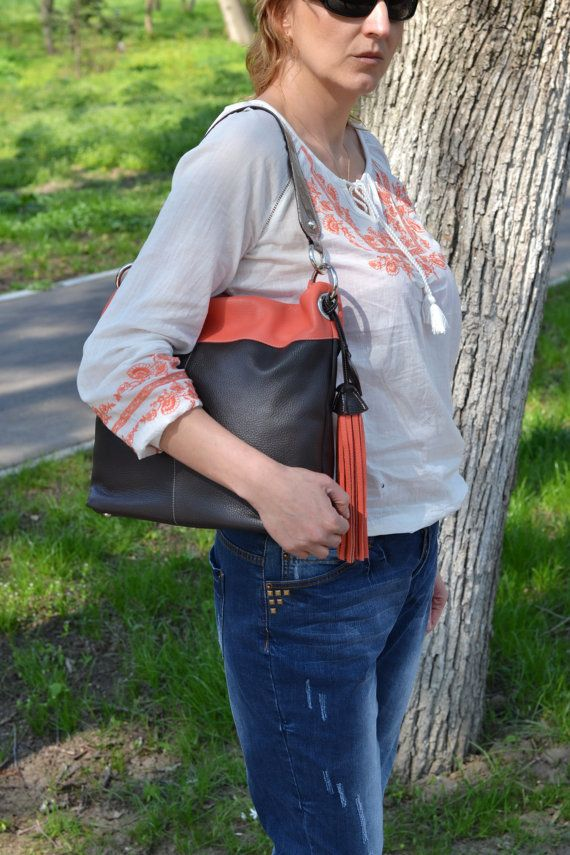Soft LEATHER HandbagLeather Hobo Bag Leather shopping by CORYSBAGS