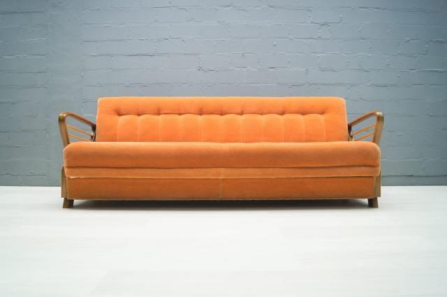 Divano Letto Vintage.Divano Letto Vintage Arancione Anni 50 In Vendita Su Pamono