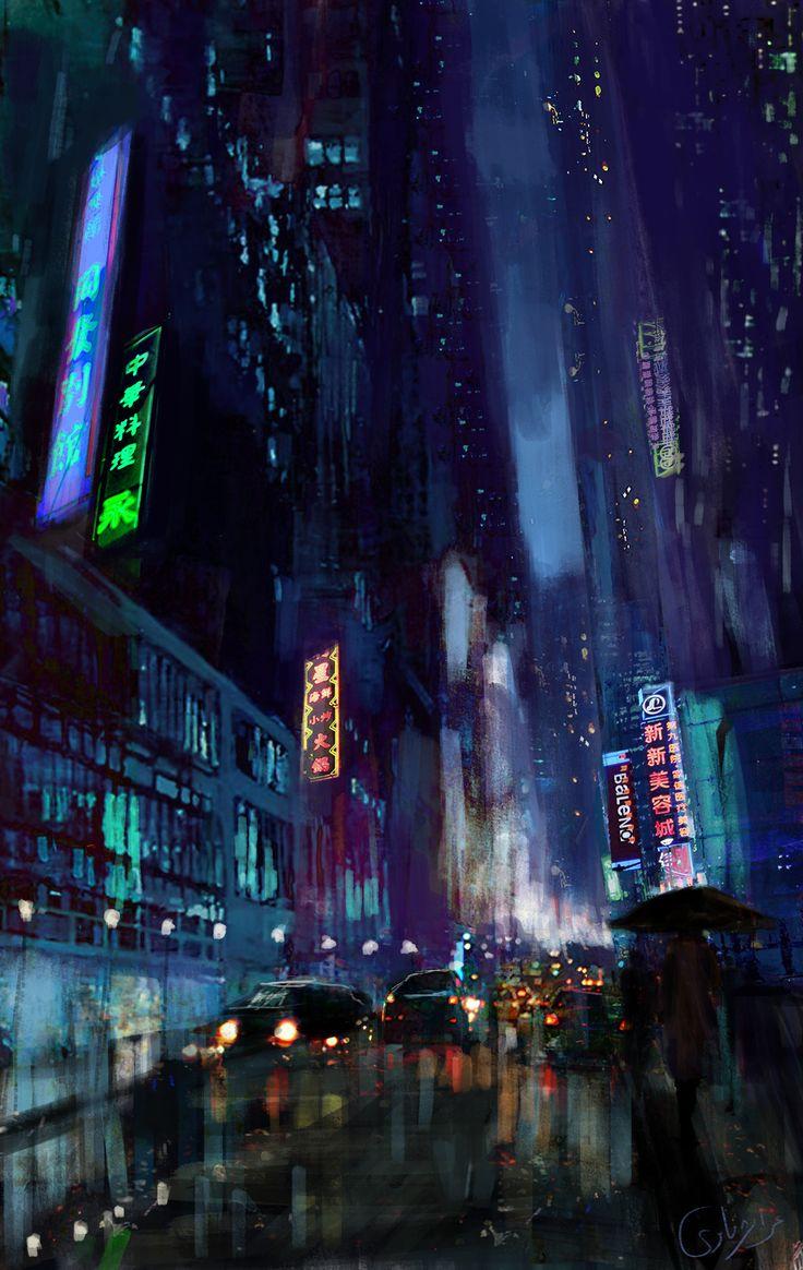 Digitalpainting Nightlife Artistic wallpaper, Android
