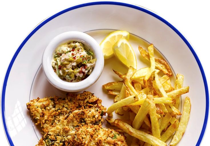 Panko-crusted fish fillets with chips  Heat the Airfryer to 200C for 3 minutes. Mix breadcrumbs, salt, pepper and parsley in a   bowl. Cut the fish into 4 long pieces almost like big fish   fingers. Whisk the eggs and place them on a  plate, tip the flour on to another plate and the    breadcrumb mix on to a third. Dip each piece of   fish in the flour, then the egg, and then the  breadcrumbs. Repeat so the fish is double-coated   for extra crispiness. ...