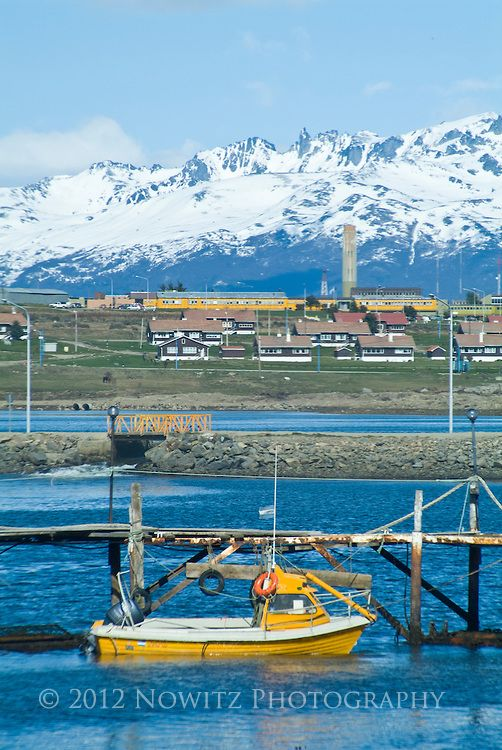 Ushuaia, Argentina, southern most city in the world. Port, downtown, surrounding mountains.