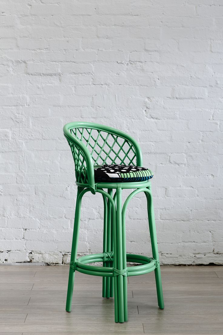 Shop | What's New | Bar Stools | Apple Green Rattan Bar Stool
