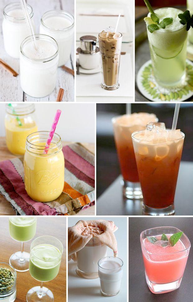International Thrist Quenchers: Horchata,  Vietnamese Iced Coffee, Mojito,  Mango Lassi, Thai Iced Tea,   Avocado Milkshake,  Latte di Mandorle,  Agua Fresca Sandia