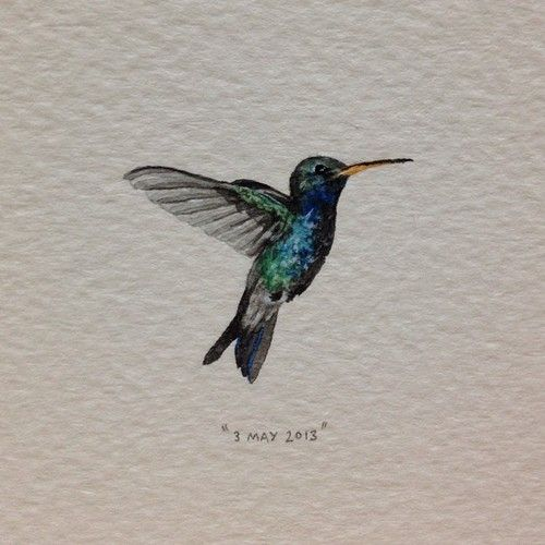 Day 123: A hummingbird for the most beautiful human. Happy birthday Nicolle♥. 27 x 21mm. #365paintingsforants #hummingbird (at Vredehoek)