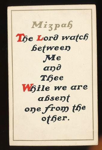 Mizpah Jewish Greeting Poem Judaism c1910