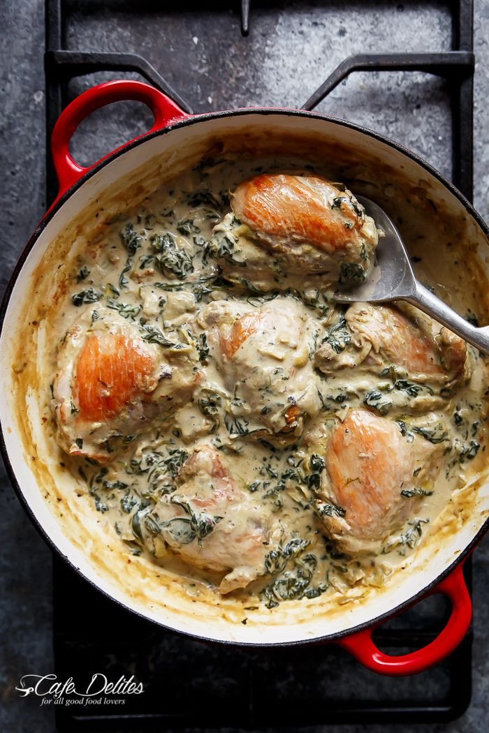 Creamy Spinach Artichoke Chicken Thighs in one skillet! Low fat AND low carb, filled with fresh spinach, artichokes, parmesan cheese and a hint of garlic!