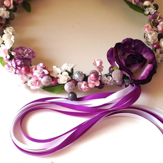 Custom purple, white, silver and pink floral wreath for Flower Girls, birthdays, fairies and ballerinas. Photo prop.