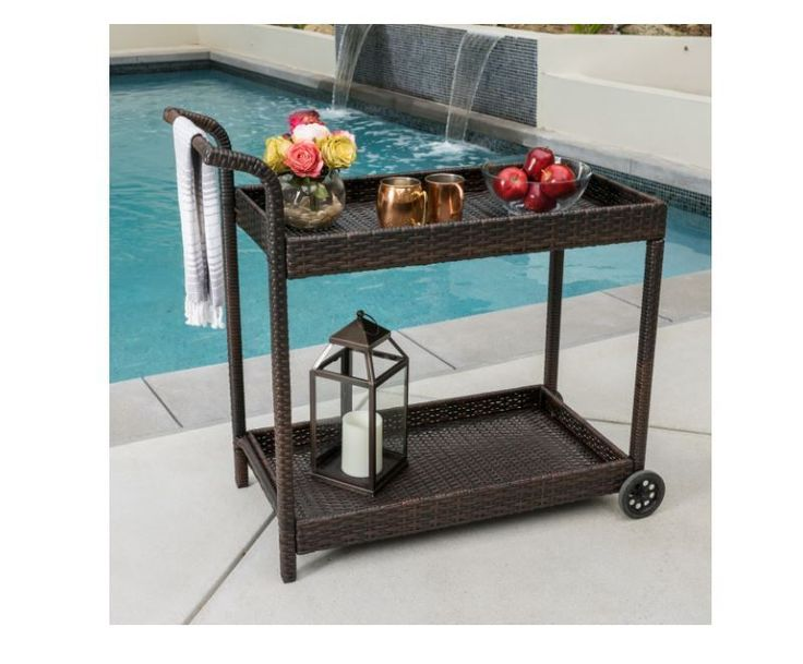 Bar Cart With Wheels Portable Rolling Wicker Kitchen Patio Deck Poolside Home #ChristopherKnightHome