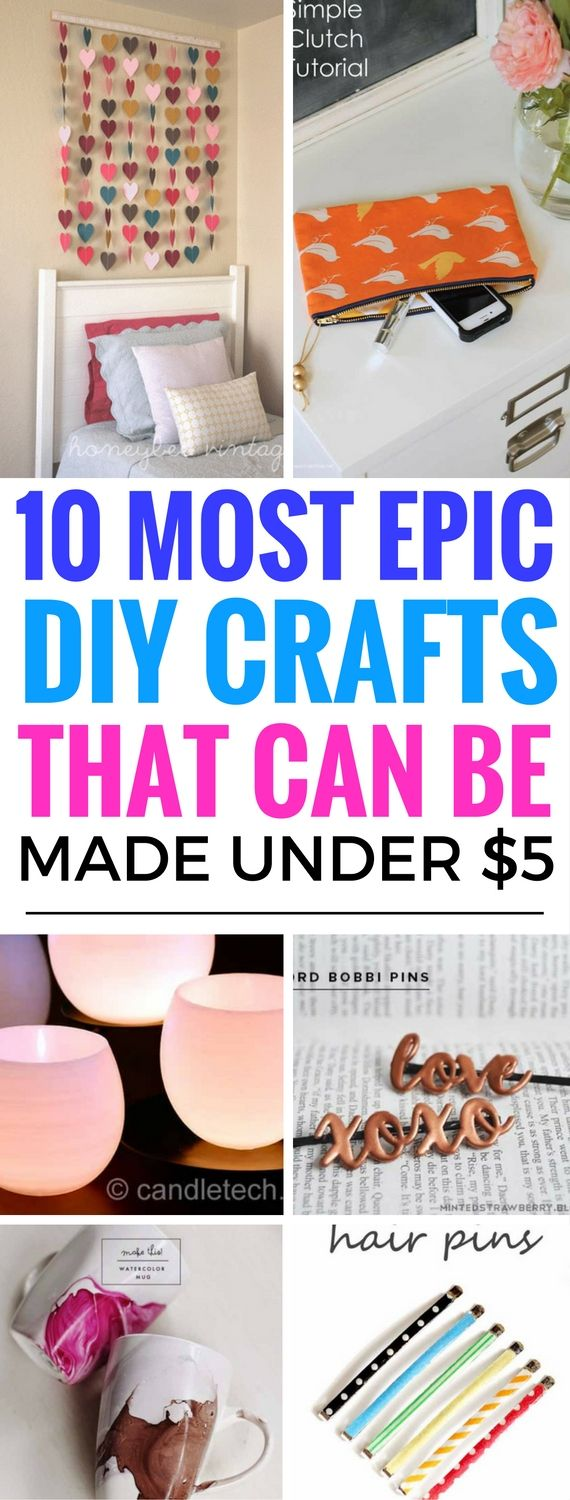 10 Epic DIY Crafts That Can Be Made Under $5 - I LOVE these diy crafts. They look so expensive but are actually very CHEAP to make! Great crafts to make and sell.