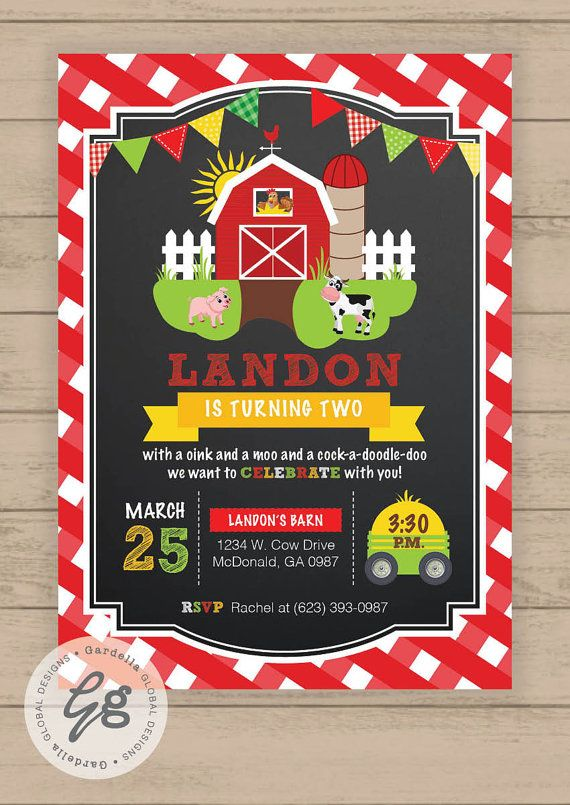 Farm Invitations Old McDonald Invitations Country Birthday Party Chalkboard Farm…