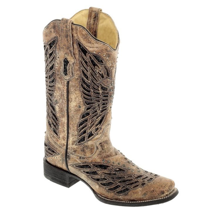 Corral Women's Sequin & Crystal Butterfly Square Toe Boots