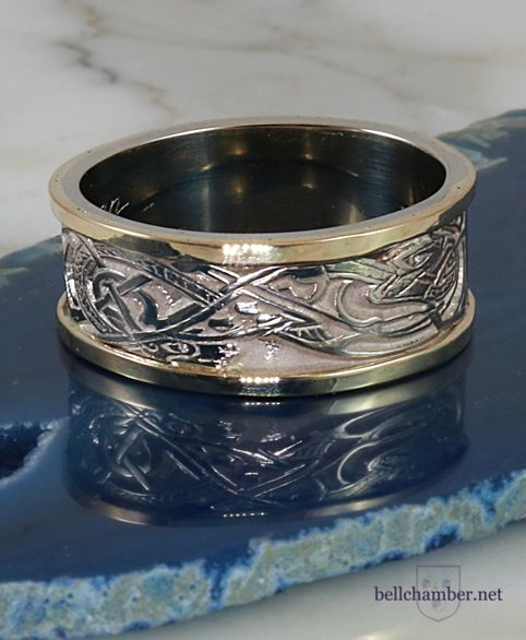 Griffin and Dragon Ring in 14K white and yellow gold.  10mm wide.  Reg retail.  $1595 USD