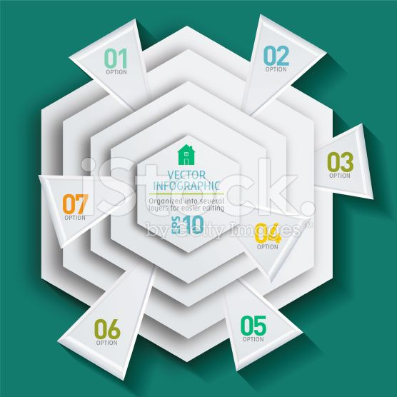 Geometric Hexagon Infographic On A Green Base royalty-free stock vector art