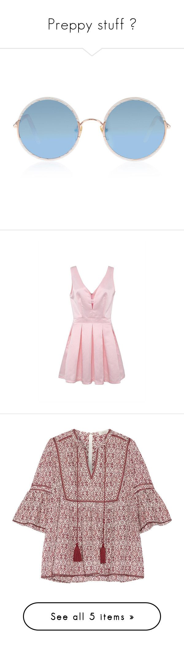 """""""Preppy stuff 😋"""" by raee590 ❤ liked on Polyvore featuring dresses, pink, pink v neck dress, plunge dress, fancy dress, strappy dress, pink skater dress, tops, blouses and shirts"""