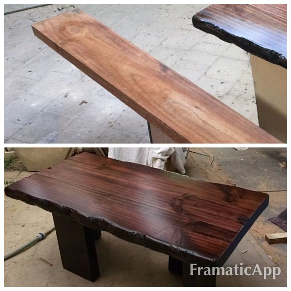 Cheap wood saw, wood glue , 2 sash clamps , an axe , blow torch , sander and some stain ,polish and a couple of 5$ pine sleepers from Bunnings and you have yourself a live edge coffee table.
