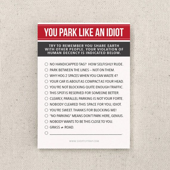 Funny Parking Notes Stocking Stuffer. Awesome. For door FlytrapOnE