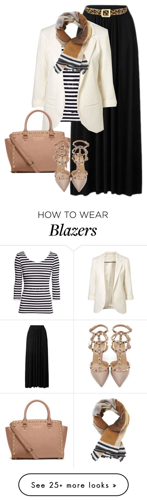 """""""blazer and maxi"""" by candiceleanos on Polyvore featuring W.Kleinberg, BCBGMAXAZRIA, Michael Kors and Valentino"""