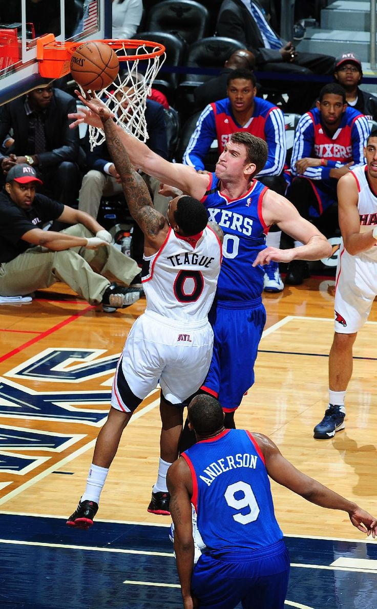 Spencer Hawes blocks Jeff Teague