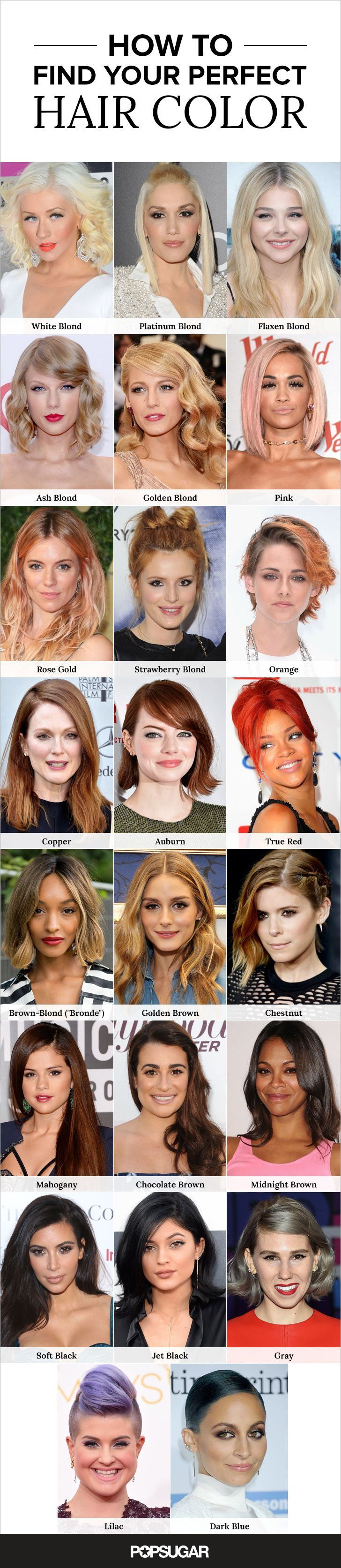 The ultimate hair-color guide — get inspired by these gorgeous celebrity shades, then bring this to the salon so your stylist gives you exactly what you want!