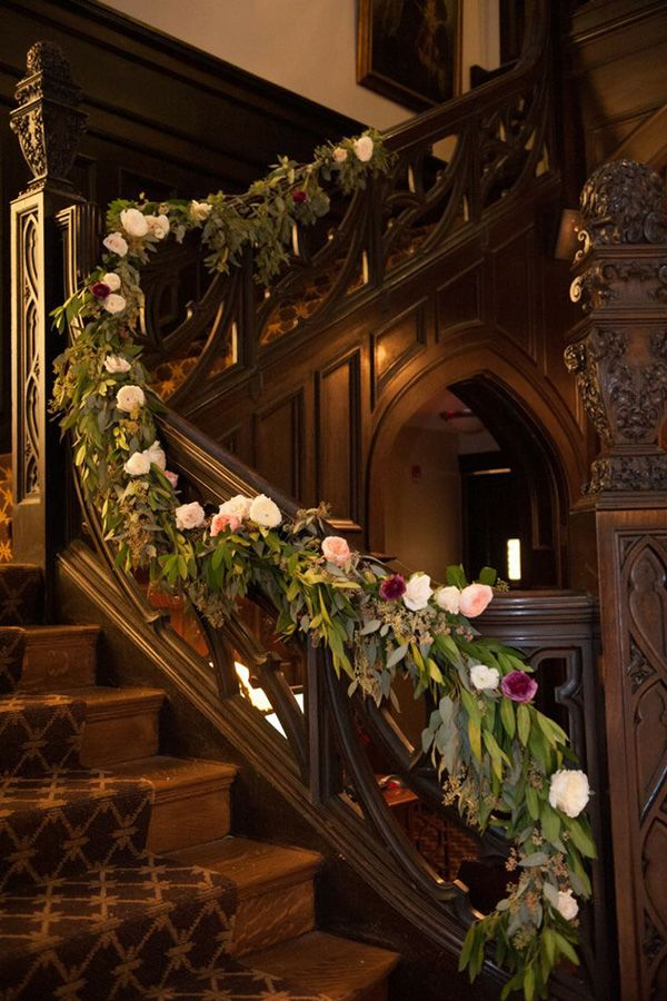 ONCE UPON A DREAM A vintage themed foral wedding staircase decoration ideas