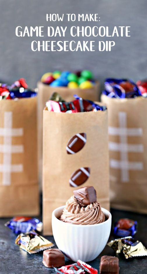 If you're looking to throw the super bowl of parties this season, you've got to include this Snickers Cheesecake Dip to your menu. For a festive touch, decorate the dessert table with DIY Football Treat bags that your guests can fill up with their favorite candy, like Peanut M&M's and Snickers NFL Minis from Target.