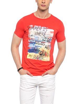 Coral Regular Crew Neck Printed T-Shirt, Urun kodu: 7YJ740Z8-J1D,Fit:Regular,Neck Type:Crew Neck,Design:Printed,Product Type:T-shirts,Main Fabric:%100 Cotton,