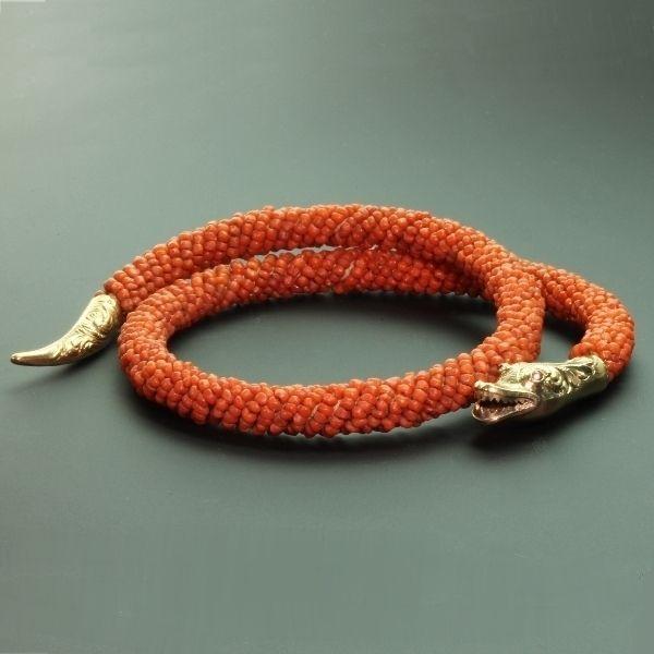 Dutch Antique Victorian Coral Snake Neck Collar Jewel