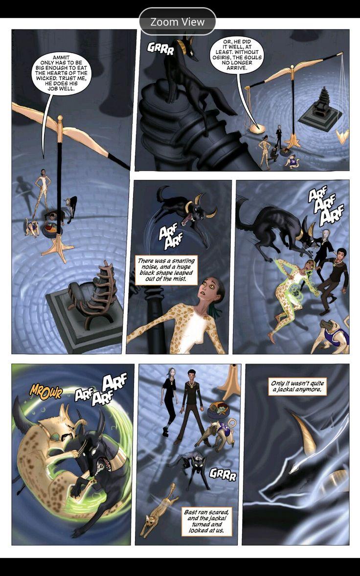 The Red Pyramid Graphic Novel. Bast VS Anubis.