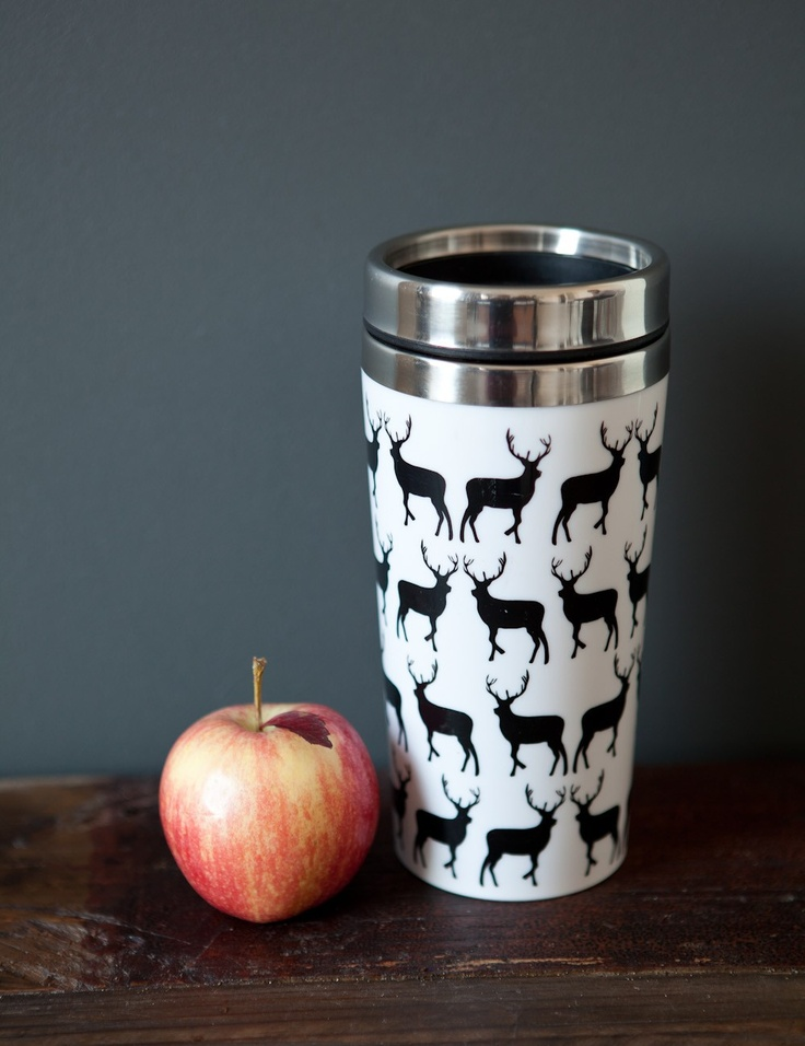 Keep your coffee or tea warm with this travel cup with stylish stag design. Perfect when on the move. By Rose & Grey.