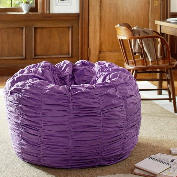 PB Teen Ruched Purple Beanbag, Slipcover + Insert, Large at Pottery Barn Teen - Bean Bag Chairs - Lounge Bag featuring polyvore, home, furniture, chairs, accent chairs, purple, purple accent chair, purple bean bag, beanbag furniture, beanbag chair and eco friendly furniture