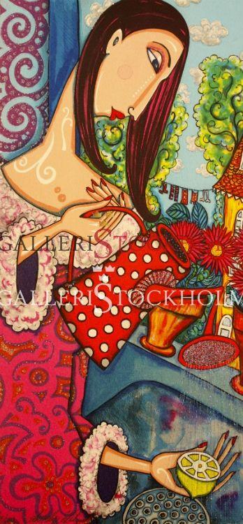 Angelica Wiik - Litografi - Sommarkväll.  Beställ här! Klicka på bilden.