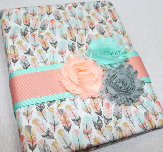 BABY Journal, Feathers, Arrows, Baby Memory Book, Baby Girl, Coral and Mint, Aztec Baby Shower, Tribal baby book, Gold, Gray, Peach, Custom