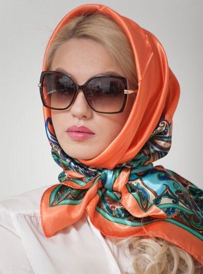 I like this!!! Orange head scarf, wrapped at neck