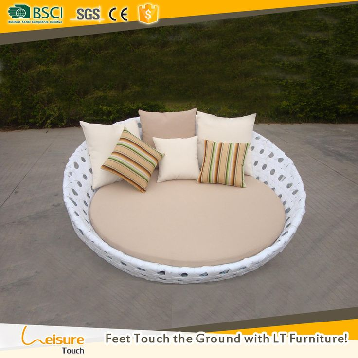 Individual Design White Color Synthetic Rattan Garden Furniture Sunbed Used Hotel Poolside Outdoor Dayb Rattan Garden Furniture Outdoor Daybed Garden Furniture