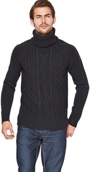 French Connection Cable Roll Neck Mens Jumper - Lyst