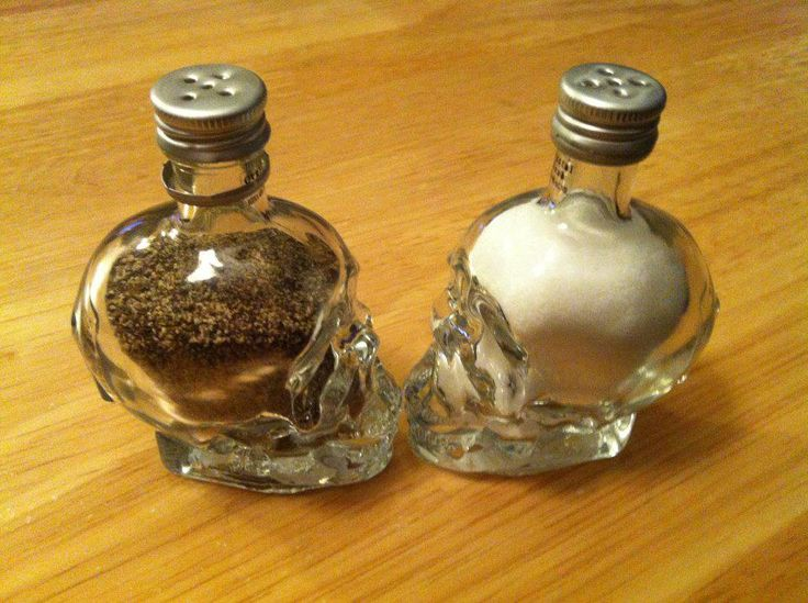 Salt and Pepper shakers from mini Crystal Head vodka bottles. Now I no what to do with them