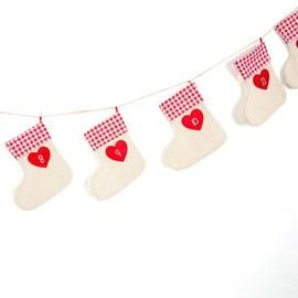 Christmas Stocking Bunting Re-usuable Advent Calendar with Gingham Trim