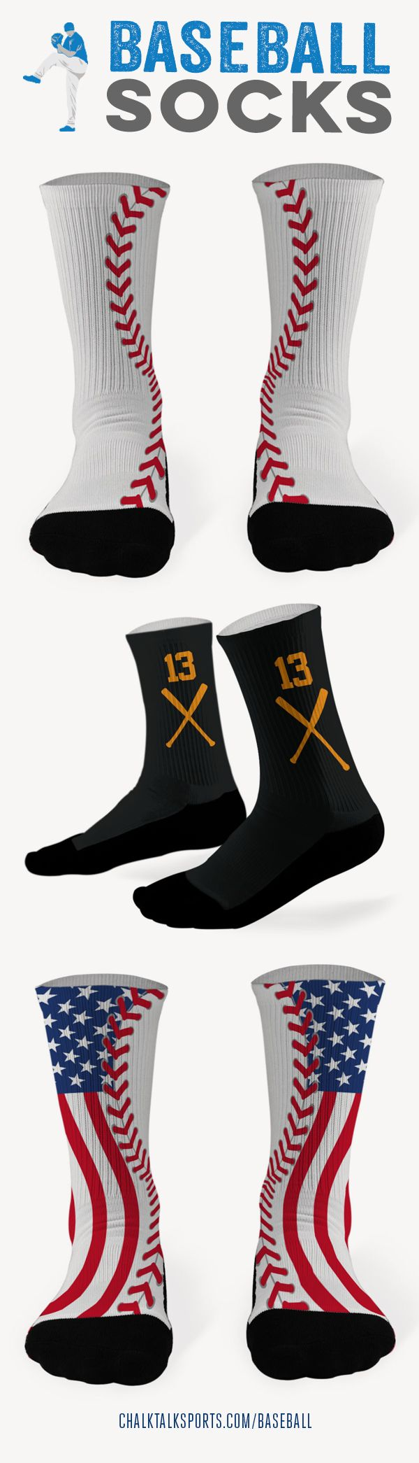 Show your love of baseball with these great baseball socks!!