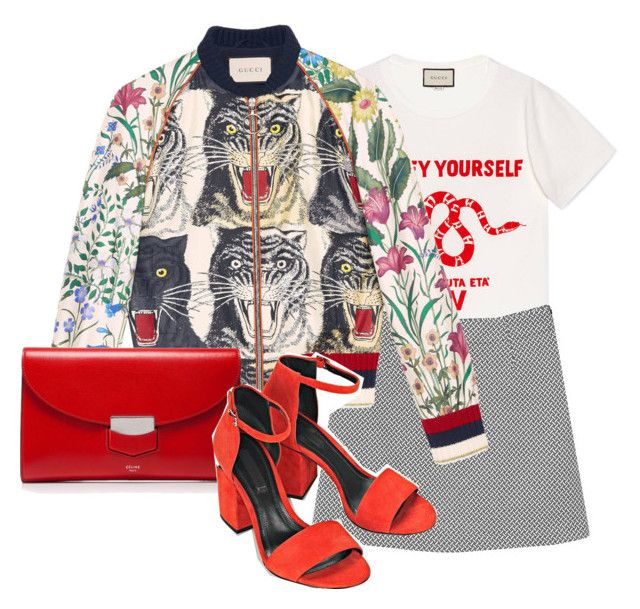 """Untitled #231"" by ksasya on Polyvore featuring Gucci, Monki, CÉLINE, Alexander Wang, red, skirt, bomberjacket and gucci"