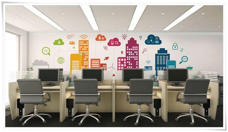 Kolorowe biuro tapeta na zamówienie wystrój wnętrz biurowych Dekea
