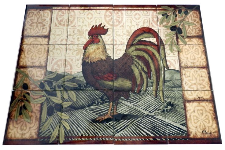 Tuscan Rooster - PB - Tile Mural Digitally reproduced for tiles and depicts a rooster with olive branches and a vineyard This tile mural with images of farm animals on tiles would be perfect as a part of your kitchen backsplash tile project. Farm animal tiles with pigs on tiles and images of cows on tile make an impressive kitchen backsplash idea. Rooster tile murals and pictures of roosters on tiles is timeless and will never go out of style.