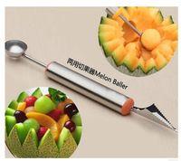 De aço inoxidável de frutas baller bola de sorvete colher faca de cozinha prato de frutas escultura ferramenta de corte de frutas facas de trinchar
