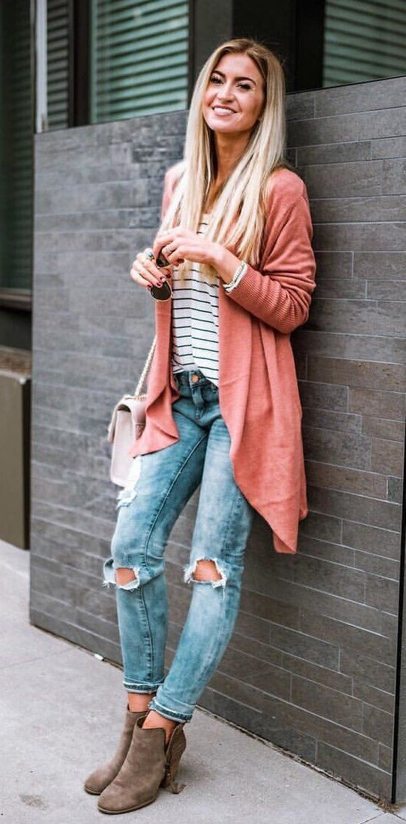#winter #outfits black and white striped crew-neck undershirt. with red cardigan, and distressed blue denim skinny jeans #womenjeans