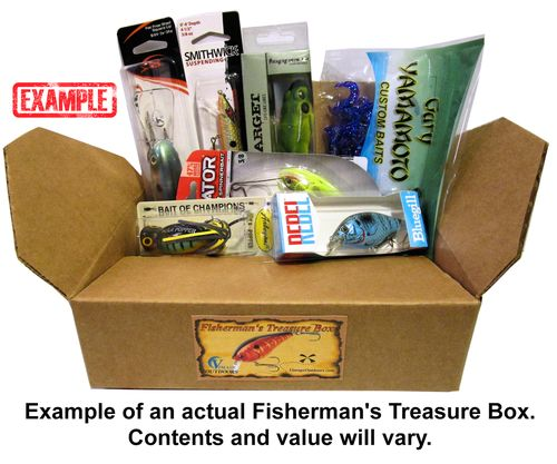 No monthly subscription tackle box. Mystery tackle box contains 5 to 8 pieces from top brands such as, Bomber, Storm, Rebel, and many, many, others!